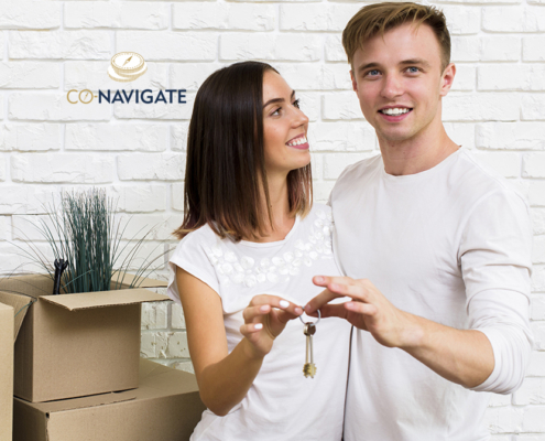 Couple celebrate after gaining first time buyer mortgage