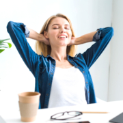 Woman happy thanks to having financial well-being