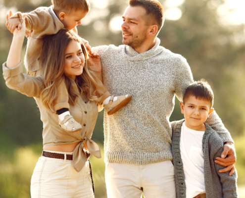 Couple with family considering inheritance and estate planning