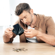 Man checks his savings