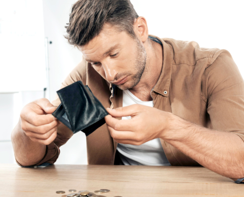 Man checks his savings